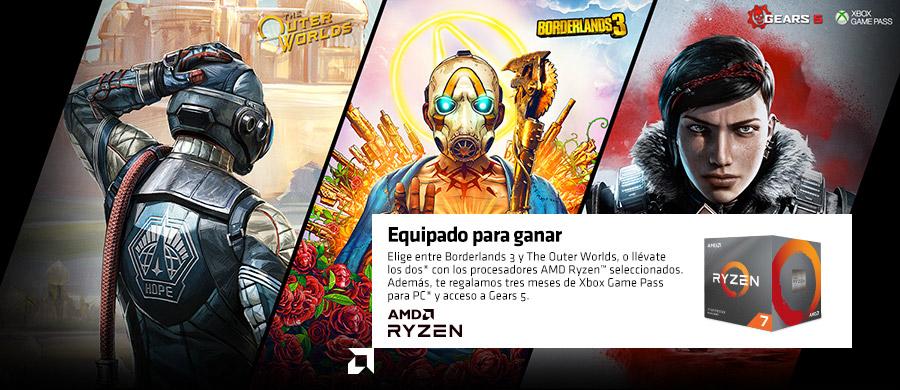 Equipado para ganar. Elige entre Borderlands 3 y The Outer Worlds, o llévate los dos* con los procesadores AMD Ryzen™ seleccionados. Además, te regalamos tres meses de Xbox Game Pass para PC* y acceso a Gears 5.