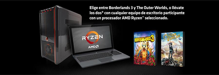 Elige entre Borderlands 3 y The Outer Worlds, o llévate los dos* con cualquier equipo de escritorio participante con un procesador AMD Ryzen™ seleccionado.
