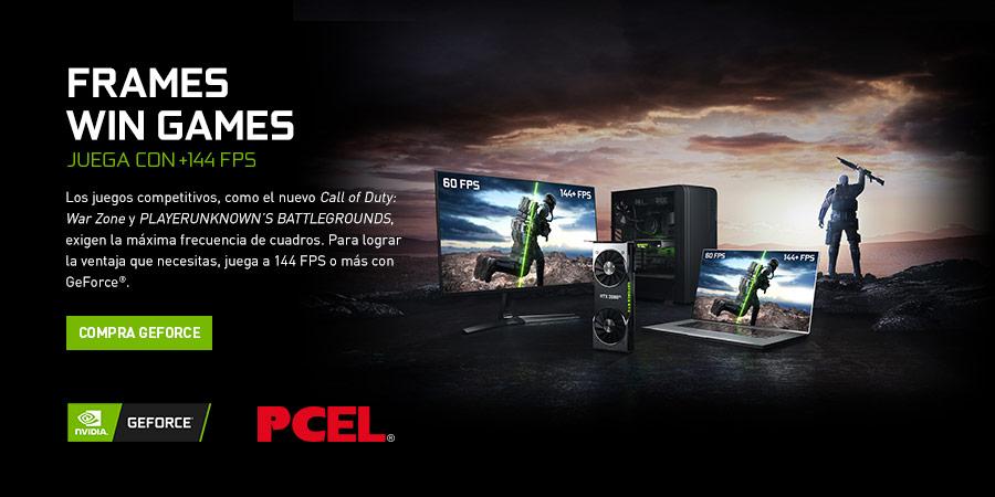 FRAMES WIN GAMES JUEGA CON +144 FPS. Los juegos competitivos, como el nuevo Call of Duty: War Zone y PLAYERUNKNOWNS BATTLEGROUNDS, exigen la máxima frecuencia de cuadros. Para lograr la ventaja que necesitas, juega a 144 FPS o más con GeForce®