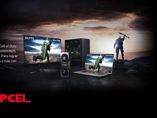 FRAMES WIN GAMES JUEGA CON +144 FPS Los juegos competitivos, como el nuevo Call of Duty: War Zone y PLAYERUNKNOWNS BATTLEGROUNDS, exigen la máxima frecuencia de cuadros. Para lograr la ventaja que necesitas, juega a 144 FPS o más con GeForce®.