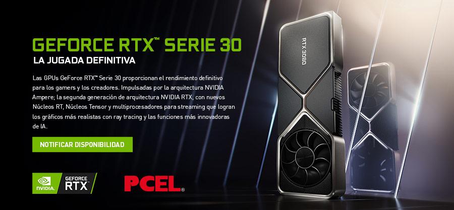 GEFORCE RTX SERIE 30 LA JUGADA DEFINITIVA. Las GPUs GeForce RTX™ Serie 30 proporcionan el rendimiento definitivo para los gamers y los creadores. Impulsadas por la arquitectura NVIDIA Ampere; la segunda generación de arquitectura NVIDIA RTX, con nuevos Núcleos RT, Núcleos Tensor y multiprocesadores para streaming que logran los gráficos más realistas con ray tracing y las funciones más innovadoras de IA.