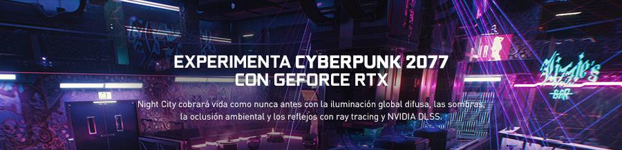 EXPERIMENTA CYBERPUNK 2077 CON GEFORCE RTX. Night City cobrará vida como nunca antes con la iluminación global difusa, las sombras, la oclusión ambiental y los reflejos con ray tracing y NVIDIA DLSS.